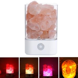 Sunshine M4 créative HIMALAYA Cristal Lampe de sel, USB Charge Table de Rock Table de travail saine lumière de nuit avec base (blanc) SH680W1597-20