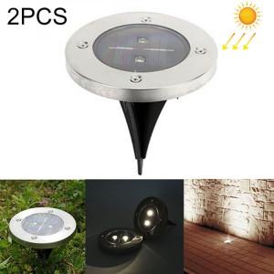 2 PCS 2 LED IP44 imperméable à l'eau solaire enterré la lumière, SMD 5050 LED blanc sous la lampe au sol à l'extérieur de la voie de jardin terrasse LED SH6211407-20