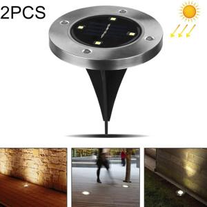 2 PCS 4 LEDs IP44 Imperméable à l'eau solaire enterré la lumière, SMD 5050 Lumière blanche sous la lampe au sol à l'extérieur de la voie de jardin Decking LED Light SH62121351-20
