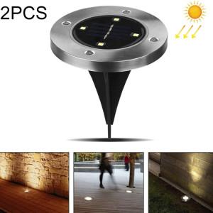 2 PCS 4 LEDs IP44 Imperméable à l'eau solaire enterré la lumière, SMD 5050 Lumière blanche chaude sous la lampe de sol à l'extérieur Chemin de jardin façon Decking de jardin LED SH12WW801-20
