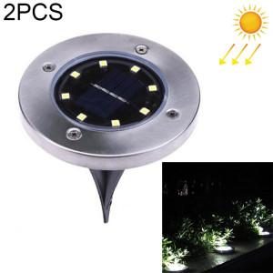 2 PCS 8 LEDs IP44 Imperméable à l'eau solaire enterré la lumière, SMD 5050 White Light sous la lampe au sol à l'extérieur chemin de jardin Way Decking LED la lumière SH621333-20