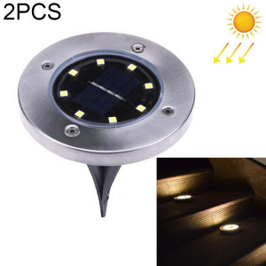2 PCS 8 LED IP44 imperméable à l'eau solaire enterré lumière, SMD 5050 lumière blanche chaude sous la lampe au sol en plein air chemin chemin jardin decking LED SH13WW1440-20