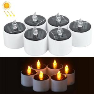 Lampe de bougie d'énergie solaire de 6 PCS, lumière blanche chaude de nuit d'atmosphère d'économie d'énergie de la lumière LED SH62151493-20