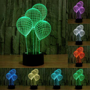 Balloon Style 7 Color Deccoloration Creative Visual stéréo lampe 3D Touch Switch Control LED Light Lampe de bureau Night Light SB62211-20