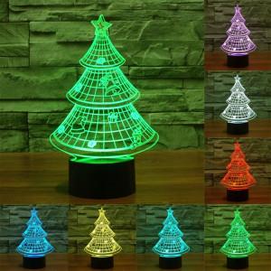 Style de l'arbre de Noël 7 Décoloration des couleurs Lampe stéréo visuelle créative Contrôle du contact tactile 3D Lampe de bureau à LED Lampe de nuit Lampe de nuit SS62234-20