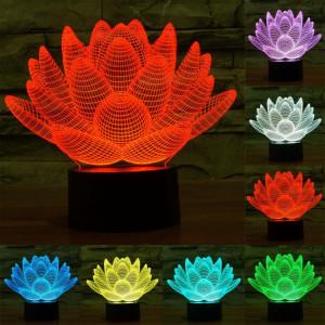 Lotus Style 7 Couleur Décoloration Creative Visual Stéréo Lampe 3D Tactile Commutateur LED Lumière Bureau Lampe de Nuit Lumière SL62341139-20
