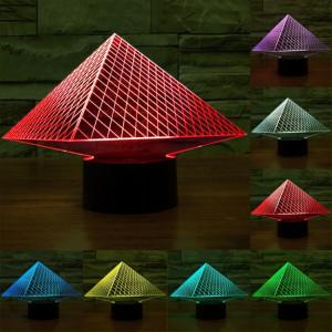 Pyramid Style 7 Color Decoloration Creative Visual stéréo lampe 3D Touch Switch Control LED Light Lampe de bureau Night Light SP62386-20