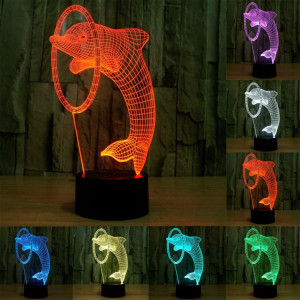 Dolphin Style 7 Couleur Décoloration Creative Laser stéréo Lampe 3D Touch Switch Control LED Light Lampe de bureau Night Light SD62402-20