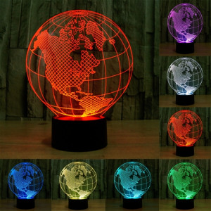 America Globe Style 7 Color Decoloration Creative Visual stéréo lampe 3D Touch Switch Control LED Light Lampe de bureau Night Light SA62418-20