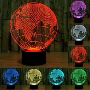 European Globe Style 7 Décoloration des couleurs Lampe stéréo visuelle créative Contrôle du contact tactile 3D Lumière LED Lampe de bureau Lampe de nuit SE62481-20