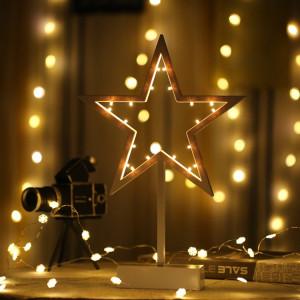 Forme d'étoile romantique LED chaîne vacances lumière avec support, lampe de nuit décorative fée chaleureuse pour Noël, mariage, chambre à coucher (blanc chaud) SH58WW179-20