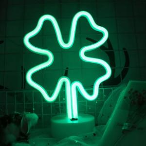 Trèfle à quatre feuilles romantique néon LED vacances lumière avec support, fée chaleureuse lampe décorative lampe de nuit pour Noël, mariage, fête, chambre (lumière verte) SH68GL779-20