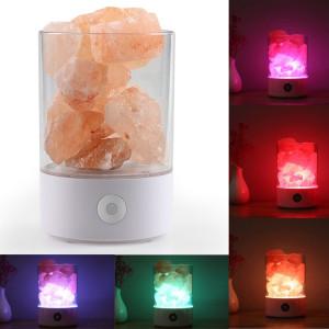 Sunshine M2 créative HIMALAYA Cristal Lampe de sel, USB Charge sain Rock Table lampe de bureau lumière de nuit avec base (blanc) SH804W1885-20
