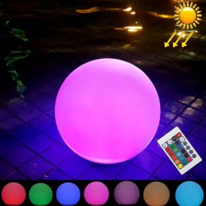 LEH-42321 40cm boule ronde lampe solaire d'énergie, jardin flottant changeant la lumière colorée de LED avec 2.8W panneau solaire monocristallin de silicium (blanc) SH712W1726-20