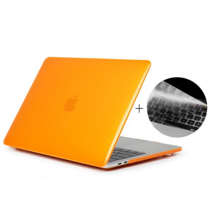 ENKAY Chapeau-Prince 2 en 1 Crystal Hard Shell Housse de protection en plastique + Europe Version Ultra-mince TPU Housse de protection pour clavier 2016 MacBook Pro 15,4 pouces avec Touch Bar (A1707) (Orange) SE606E231-20