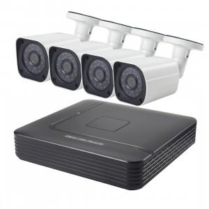Kit caméra NVR COTIER A4B6 4Ch 720P 1.0 Mega Pixel Bullet, détection de vision nocturne / détection de mouvement, distance IR: 15m SC078A1154-20