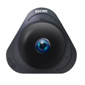 ESCAM Q8 960P 360 degrés Fisheye objectif 1.3MP WiFi IP Camera, détection de mouvement de soutien / vision nocturne, Distance IR: 5-10m (noir) SE340B1785-20