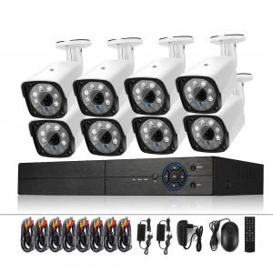 A8B3 / Kit Système DVR de surveillance 8CH 1080N et caméra Bullet HD étanche 720P 1.0MP, vision nocturne infrarouge compatible et télécommande P2P & téléphone (blanc) SH062W976-20