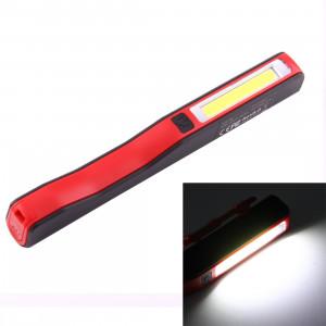 Lampe / lampe-torche de travail de forme de stylo de l'intense luminosité 100LM, lumière blanche, COB LED 2-Modes avec agrafe magnétique rotative de 90 degrés (rouge) SH874R29-20