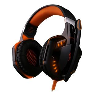 KOTION CHAQUE G2000 Sur-oreille Jeu Gaming Casque Casque Écouteur Bandeau avec Micro Basse Stéréo LED pour PC Gamer, Longueur du Câble: Environ 2.2m (Orange + Noir) SK100E1332-20