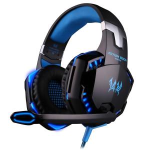 KOTION CHAQUE G2000 Sur-oreille Jeu Gaming Casque Casque Écouteur Bandeau avec Micro Basse Stéréo LED Lumière pour PC Gamer, Longueur du Câble: Environ 2.2m (Bleu + Noir) SK100L380-20
