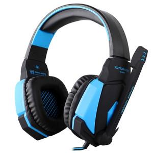 KOTION EACH G4000 Version USB Stéréo Gaming Headset Casque Bandeau avec Microphone Contrôle du Volume LED Lumière pour PC Gamer, Longueur du Câble: Environ 2.2m (Noir + Bleu) SK04BL1590-20