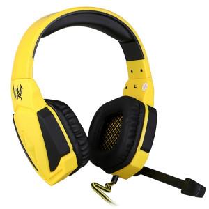 KOTION EACH G4000 Version USB Stéréo Gaming Headset Casque Headband avec Microphone Contrôle du Volume LED Lumière pour PC Gamer, Longueur de Câble: Environ 2.2m (Noir + Jaune) SK04BY1349-20