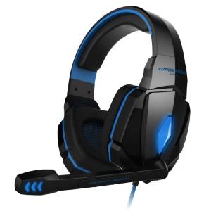KOTION CHAQUE G4000 Stéréo Gaming Headset Casque Headband avec Micro Contrôle du Volume LED Lumière pour PC Gamer, Longueur du Câble: Environ 2.2m (Bleu + Noir) SK105L12-20