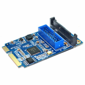Carte d'extension pour PC de bureau MINI PCI-E vers USB 3.0 avant 19 broches (bleu) SM183L886-20