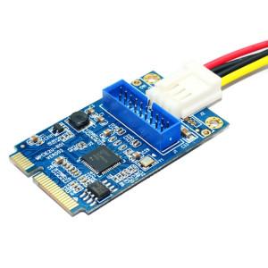 Carte d'extension MINI PCI-E vers USB 3.0 avant 19 broches pour PC de bureau avec port de connexion d'alimentation à 4 broches (bleu) SM184L1591-20