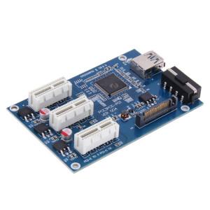 PCI-E 1 à 3 PCI Express 1 carte de montage de slots 3 PCI-E Slot Adapter Carte de port PCI-E Multiplier avec câble USB de 60 cm (bleu) SP187L1897-20