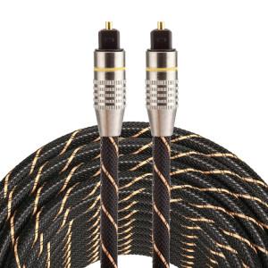 15m OD6.0mm plaqué or tête métallique tissé Net Line Toslink mâle à mâle numérique câble audio optique SH0389399-20