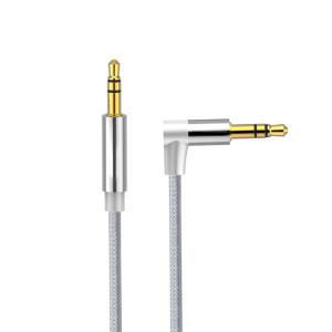 AV01 Câble audio coudé mâle à mâle 3,5 mm, longueur: 3 m (gris argenté) SH21SH1580-20