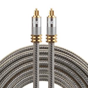 EMK YL-A 5m OD8.0mm Câble audio numérique Toslink mâle / mâle à tête en métal plaqué or SH07751711-20