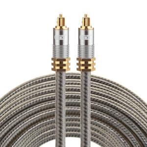 EMK YL-A 15m OD8.0mm Câble audio numérique Toslink mâle / mâle à tête en métal plaqué or SH07781536-20