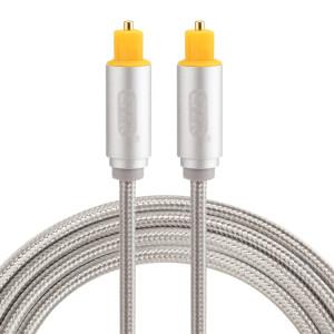 EMK 1.5m OD4.0mm Tête de Métal Plaqué Or Tressé Ligne de Toslink Mâle à Mâle Câble Audio Optique Numérique (Argent) SH782S1559-20