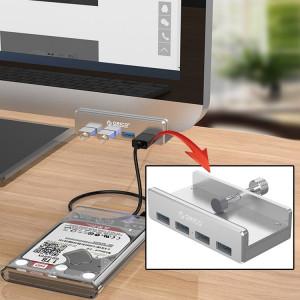 ORICO MH4PU Alliage d'aluminium 4 Ports USB 3.0 Clip-type HUB avec 1 m de câble USB, Largeur de Clip Plage: 10-32mm SO1123706-20