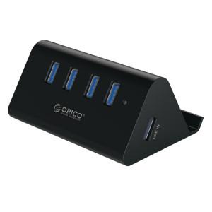 ORICO SHC-U3 ABS Matériel Bureau 4 Ports USB 3.0 HUB avec Support de Téléphone / Tablette et 1 m USB Câble et Indicateur LED SO1143366-20
