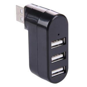 Rotation de 180 degrés tête USB 3 Ports USB 2.0 Portable HUB (Noir) S1010B521-20