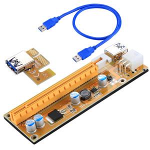 VER006C USB 3.0 PCI-E Express 1x Adaptateur de rallonge de rallonge Câble d'alimentation 6 broches Compatible avec 1x, 4x, 8x, 16x PCI-E Fente de la carte mère avec câble de 60cm (Jaune) SV260Y804-20