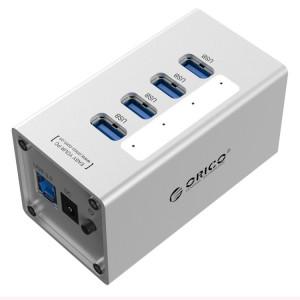 ORICO A3H4 Aluminium Haute Vitesse 4 Ports USB 3.0 HUB avec Alimentation 12V / 2.5A pour Ordinateurs Portables (Argent) SO009S659-20