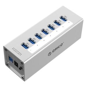 ORICO A3H7 Aluminium Haute Vitesse 7 Ports USB 3.0 HUB avec Alimentation 12V / 2.5A pour Ordinateurs Portables (Argent) SO013S1357-20