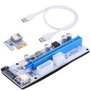 USB 3.1 PCI-E Express 1x à 16x PCI-E Extender Riser Carte Adaptateur 15 broches SATA Power avec 60cm câble USB (Bleu) SU281L1606-20