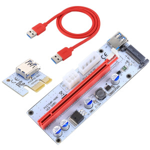 PCE164P-N06 VER008S USB 3.0 PCI-E Express 1x à 16x Adaptateur de carte de rallonge PCI-E 15 broches SATA Power 6 broches + 4 broches Port d'alimentation avec câble USB de 60cm (rouge) SP282R311-20