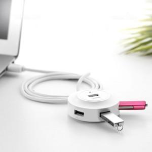 UGREEN 4 Ports USB 2.0 HUB Splitter pour Mac, Windows, Linux Systèmes PC / Tablettes, Longueur du câble: 50cm (Blanc) SU212W818-20