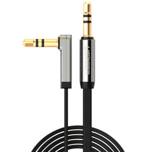 Ugreen 3.5mm Mâle à 3.5mm Mâle Elbow Connecteur Audio Câble Adaptateur Or Portée AUX Voiture Audio Câble, Longueur: 1.5m SU4811146-20