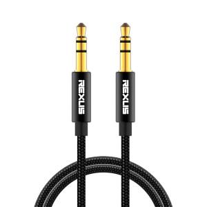 REXLIS 3629 Câble audio auxiliaire jack stéréo plaqué or mâle / mâle 3,5 mm pour voiture pour périphériques numériques standard AUX 3,5 mm, longueur: 1 m SR51101322-20