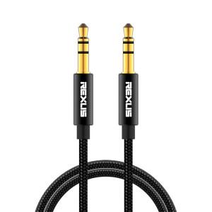 REXLIS 3629 Câble audio auxiliaire jack stéréo plaqué or mâle / mâle de 3,5 mm pour voiture, pour appareils numériques standard AUX de 3,5 mm, longueur: 7,6 m SR5114370-20