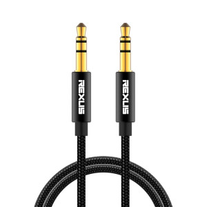 REXLIS 3629 Câble audio auxiliaire jack stéréo plaqué or mâle / mâle 3,5 mm pour voiture pour appareils numériques standard AUX 3,5 mm, longueur: 10 m SR51151634-20
