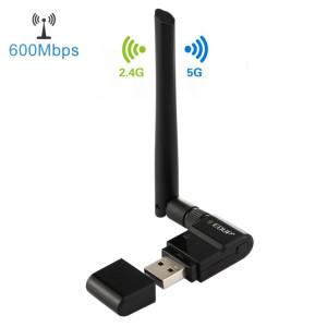 EDUP EP-AC1635 Adaptateur Ethernet sans fil 11AC USB Ethernet à deux bandes 600Mbps 2dBi pour ordinateur portable / PC (noir) SE982B183-20